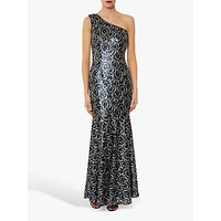 Gina Bacconi Beezus Embellished Floral Maxi Dress, Navy/Silver