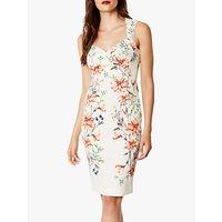 Karen Millen Sweetheart Neck Floral Bodycon Dress, White/Multi