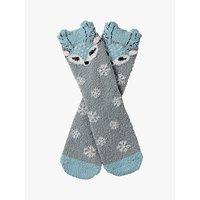 Fat Face Girls' Darcy Deer Fluffy Socks, Grey/Aqua