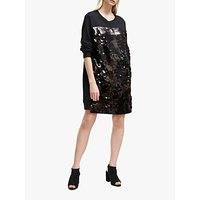 French Connection Emilia Sequin Jersey Sweater Dress, Black