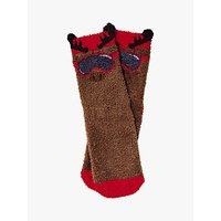 Fat Face Boys' Milo Moose Socks, Chocolate