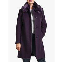 Four Seasons Faux Fur Collar Coat, Purple