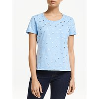 Collection WEEKEND by John Lewis Foil Orange Print T-Shirt, Pale Blue/Silver