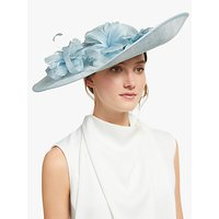 John Lewis & Partners Logan Large Upturn Disc Floral Fascinator, Pacific Blue