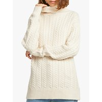 French Connection Rita Cable Knit Roll Neck Jumper, Classic Cream