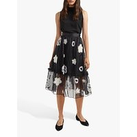shop for French Connection Josephine Tulle Floral Embroidered Midi Skirt, Black/Multi at Shopo