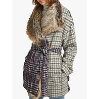 French Connection Irene Check Faux Fur Collar Coat, Multi