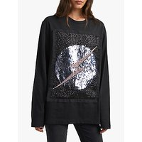 French Connection Peggy Embellished Jersey Sweater, Black Multi