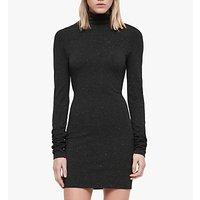 Allsaints Esme Shimmer Long Sleeve Dress, Charcoal Marl