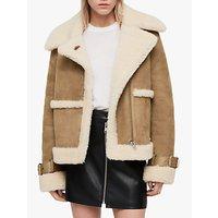 Allsaints Farley Shearling Coat, Sand Brown/ecru