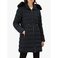 Jaeger Puffer Leather Trim Coat, Black