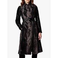 Karen Millen Leopard Print Wrap Coat, Black
