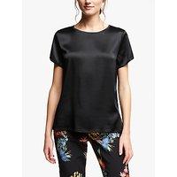 Marella Silk Blend Short Sleeve Top, Black