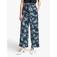 Marella Palm Print Wide Leg Trousers, Midnight Blue