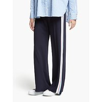 Marella Side Stripe Wide Leg Trousers, Midnight Blue