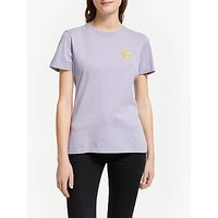Iden Organic Cotton Embroidered Heart T-Shirt, Lavender