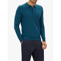 Jaeger Merino Wool Long Sleeve Polo Shirt, Mid Blue