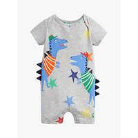 Baby Joule Dinosaur Patch Applique Romper, Grey