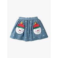 Mini Boden Girls' Snowman Pocket Skirt, Blue