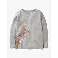 Mini Boden Girls' Sequin Reindeer T-Shirt, Grey