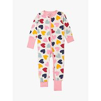 Polarn O. Pyret Baby GOTS Organic Cotton Heart Onesie, Pink
