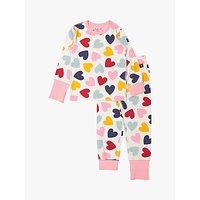 Polarn O. Pyret Baby GOTS Organic Cotton Heart Pyjamas, Pink