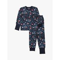 Polarn O. Pyret Children's Floral Pyjama Set, Blue