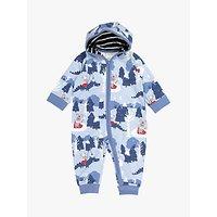 Polarn O. Pyret Baby Organic Cotton Winter Wonderland Hooded Sleepsuit, Blue