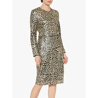 shop for Gina Bacconi Ceri Abstract Animal Sequin Dress, Neutral at Shopo