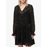 Allsaints Alia Flora Dress, Black/gold