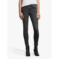 Allsaints Grace Mid-rise Skinny Jeans, Washed Black