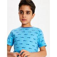 John Lewis & Partners Boys' Shark Shortie Pyjamas, Pack of 2, Blue