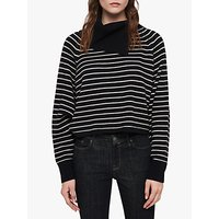 Allsaints Maddie Stripe Cropped Roll Neck Jumper, Ink/ecru White