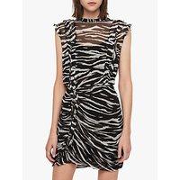 Allsaints Hali Tiger Dress, Black/chalk White