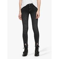 Allsaints Grace Frayed Split Ankle Jeans, Washed Black