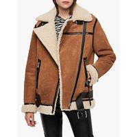 Allsaints Rei Shearling Coat, Sand Brown/ecru