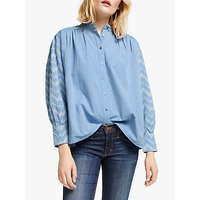 AND/OR Chevron Embroidery Schiffli Lace Cotton Shirt, Chambray/Ecru