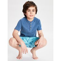 John Lewis & Partners Boys' Space Print Henley Pyjamas, Blue