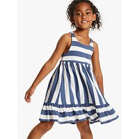 Little Joules Girls' Juno Peplum Midi Dress, White/Blue