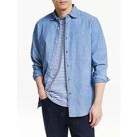 shop for John Lewis & Partners Slim Fit Chambray Shirt, Indigo at Shopo