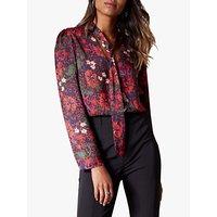 Karen Millen Tie Detail Floral Blouse, Multi