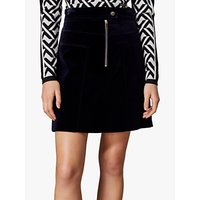Karen Millen Velvet A-Line Skirt, Navy