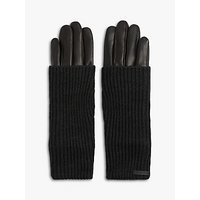 Allsaints Knit Cuff Leather Gloves, Black
