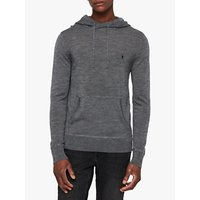 AllSaints Mode Merino Pullover Hoodie, Charcoal Mouline