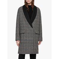 Allsaints Paige Check Coat, Black/chalk/brown