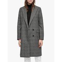 Allsaints Paityn Check Coat, Pale Grey