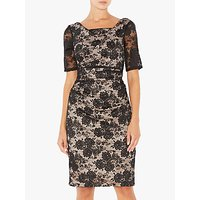 Adrianna Papell Rosa Lace Dress, Black/Pale Pink