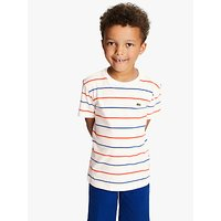 Lacoste Boys Stripe T-Shirt, White/Multi