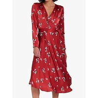 Ghost Orla Satin Dress, Red/Falling Botanics