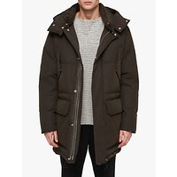 AllSaints Sergio Quilted Parka Jacket, Khaki Green
